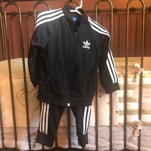 Toddler ADIDAS track suit in black w/white stripes